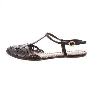Tory Burch Alexa Summer Flat Sandal 7.5 Black 37.5